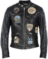 Dolce & Gabbana Black Musical Patches Biker Jacket