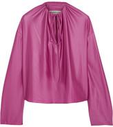 Balenciaga Gathered Stretch-satin Top - Pink