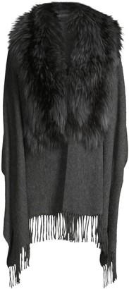 Pologeorgis Fox Fur Collar Fringed Wool Shawl