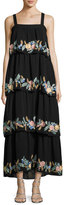 Vilshenko Tiered Floral-Embroidered Maxi Dress, Black