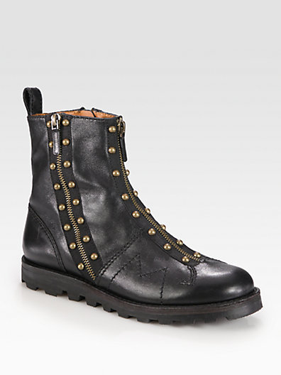 Marc by Marc Jacobs Studded Leather and Zipper Ankle Boots