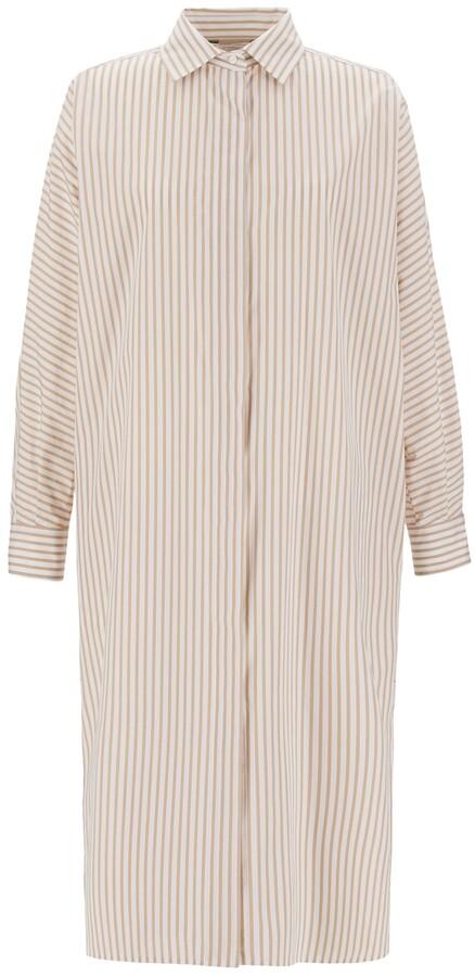 Max Mara Striped Cotton Poplin Shirt Dress
