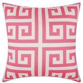 Nourison Mina Victory Greek Key Geometric Square Outdoor Pillow in Hot Pink
