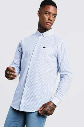 boohoo Cotton Slim Stripe Long Sleeve Shirt