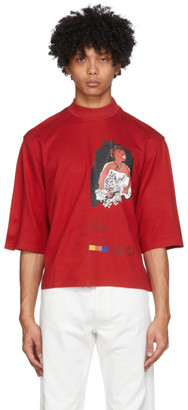 Pyer Moss Red Mock Neck Ponte T-Shirt