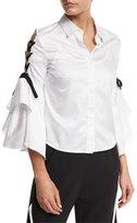 Jonathan Simkhai Lace-Up Bell-Sleeve Poplin Shirt, White/Black
