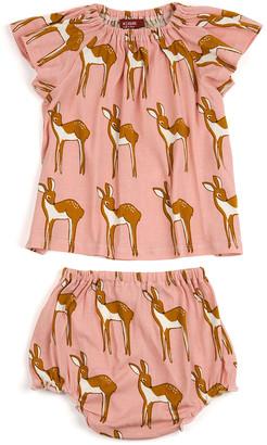 Milkbarn Girls' Casual Dresses - Rose Doe Organic Cotton Angel-Sleeve Dress & Diaper Cover - Infant