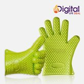 Cooking Gloves Heat Resistant Premium Insulated Grilling Gloves for Cooking, Pot Holders, Oven Mitt and BBQ Gloves (Green)