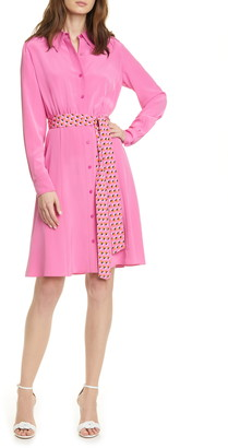 Diane von Furstenberg Dory Long Sleeve Silk Shirtdress