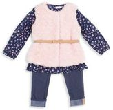 Little Lass Little Girl's Four-Piece Floral Top Faux-Fur Vest and Denim Leggings and Belt Set