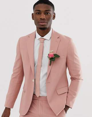 Moss Bros slim suit jacket in dusty pink