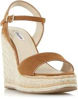 Dune Krysie high raffia wedge sandals