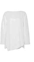 Tibi White Sequin Baseball T-Shirt