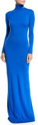 Calvin Klein Turtleneck Long-Sleeve Body-Con Wool-Jersey Evening Gown