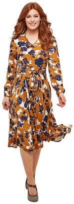 Joe Browns Flared Floral Midi Dress with Long Sleeves