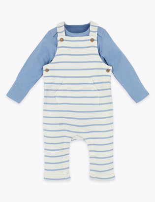 Marks and Spencer 2 Piece Cotton Striped Dungarees (0-12 Mths)