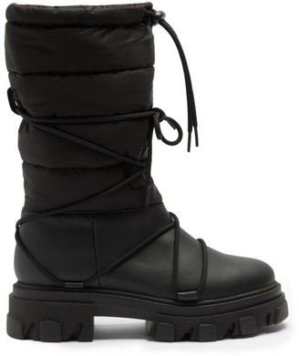 Ganni Quilted Leather Snow Boots - Black