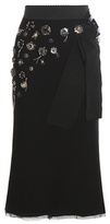 Dolce & Gabbana Embellished Wool And Cotton-blend Midi Skirt