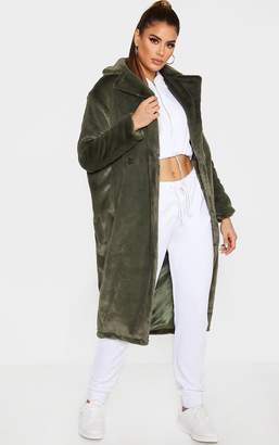 PrettyLittleThing Tall Olive Green Faux Fur Long Line Coat