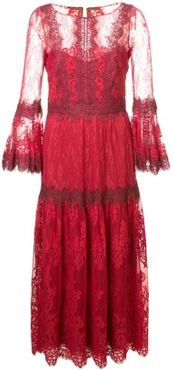 Marchesa lace midi dress