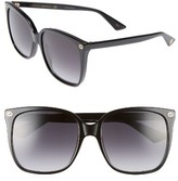 Gucci Women's 57Mm Square Sunglasses - Black/ Grey