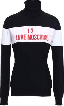 Love Moschino Two-tone Intarsia-knit Turtleneck Sweater
