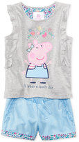 Nickelodeon Nickelodeon's Peppa Pig 2-Pc. Embellished Top and Shorts Set, Toddler and Little Girl (2T-6X)