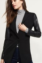 Dynamite Blazer With Faux Leather Sleeves