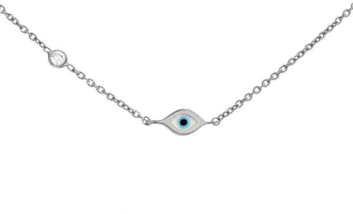 Sydney Evan Mini Enamel Evil Eye Bracelet - White Gold