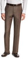 Ermenegildo Zegna Trofeo®; Wool Flat-Front Trousers, Light Brown