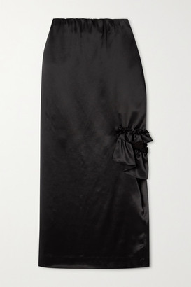 Simone Rocha Bite Cutout Ruffled Silk-satin Midi Skirt - Black