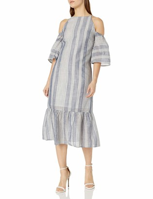Lucca Couture Women's Stripe Cold Shoulder Maxi Dress