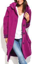 Purple Hooded Wool-Blend Coat - Plus Too