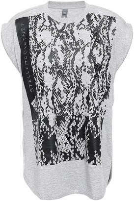 adidas by Stella McCartney Printed Melange Cotton-blend Jersey Top