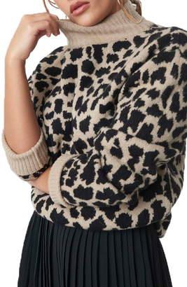 NA-KD Cheetah Jacquard Turtleneck Sweater