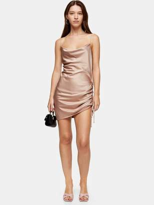 Topshop Ruched Mini Slip Dress - Pink