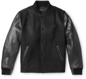 Rag & Bone Boulder Leather And Wool-blend Bomber Jacket - Black