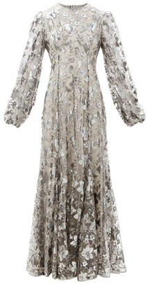 Erdem Baba Balloon-sleeve Floral-embroidered Tulle Gown - Silver