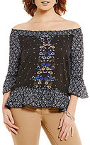 Democracy Off-the-Shoulder Neck 3/4 Sleeve Printed Flounce Top