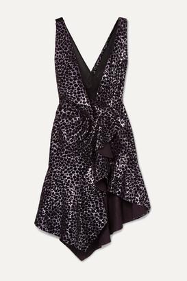 Philosophy di Lorenzo Serafini Ruffled Flocked Sequined Mesh Mini Dress - Violet