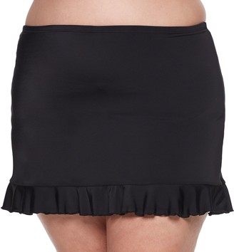 Plus Size A Shore Fit Solid Flounce Swim Skirt