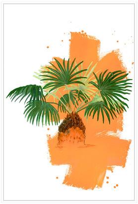 Jonathan Bass Studio Palm 2, Decorative Framed Hand Embellished Canvas