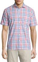 Neiman Marcus Check-Print Short-Sleeve Sport Shirt, Pink/Orange