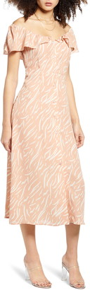 ALL IN FAVOR Print Button Front Dress