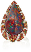 Martin Katz Pear Shaped Red Colored Black Opal Ring