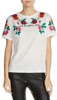 Maje Women's Floral Embroidered Linen Tee