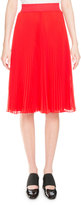 Givenchy Pleated Georgette Midi Skirt, Red