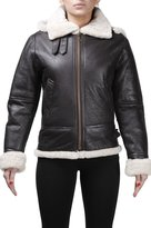 Infinity Women's Aviator Hooded Sheepskin Leather Jacket with Cream Fur M