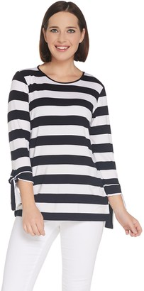 Joan Rivers Classics Collection Joan Rivers Striped Tee with Tie Detail