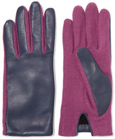 Agnelle Two-Tone Wool-Blend And Leather Gloves